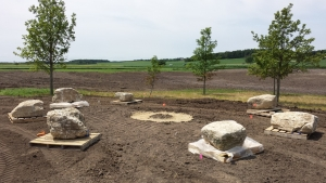 Subbase for firepit is complete and seating stones are placed in approximate location.